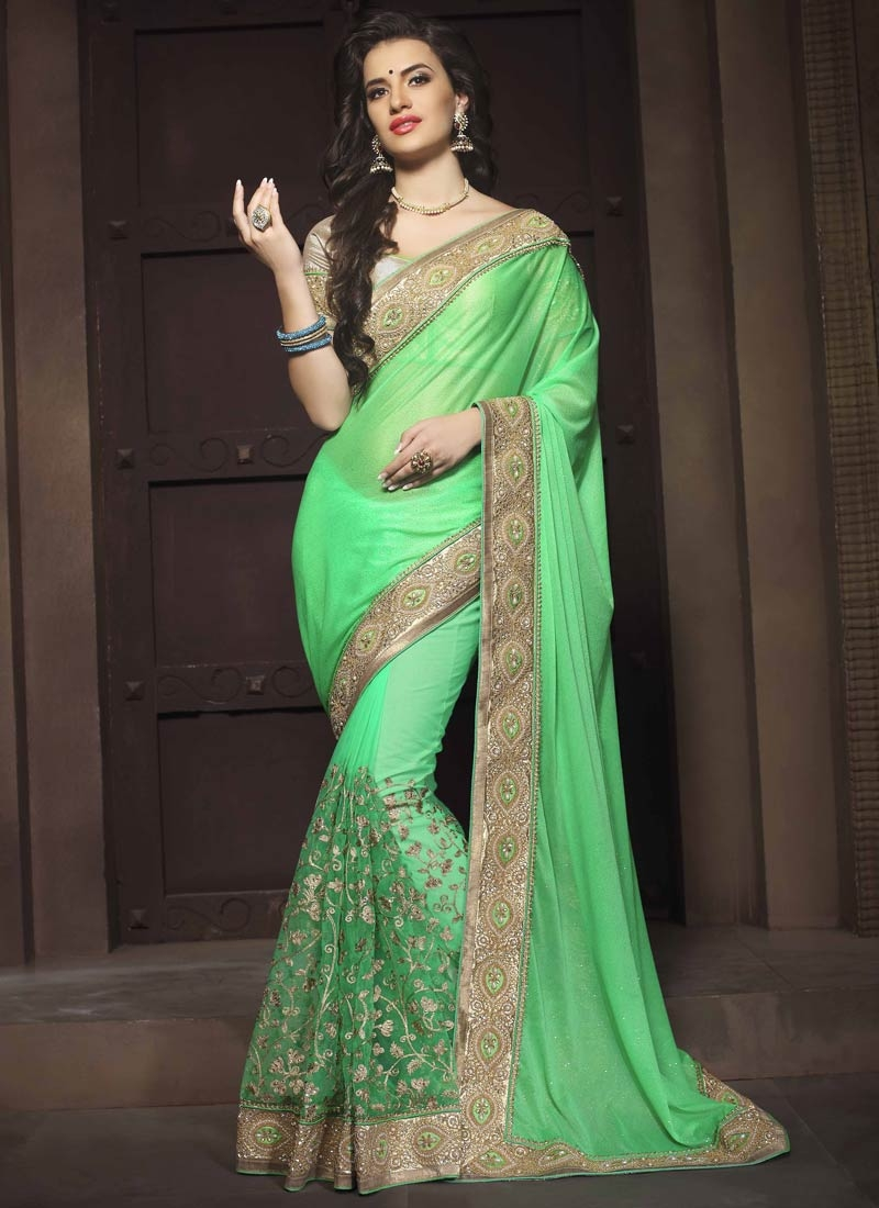Mystic Mint Green Color Beads Work Wedding Saree