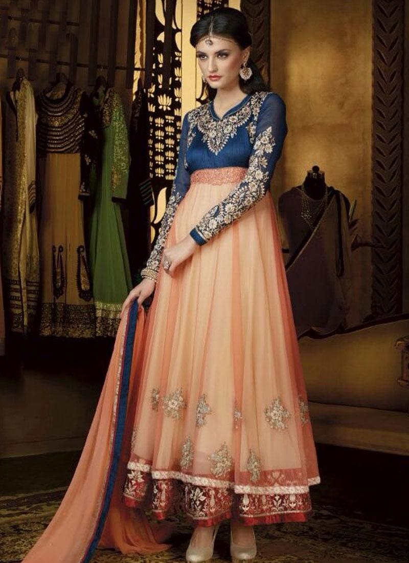 Mystic Navy Blue And Peach Color Anarkali Salwar Kameez