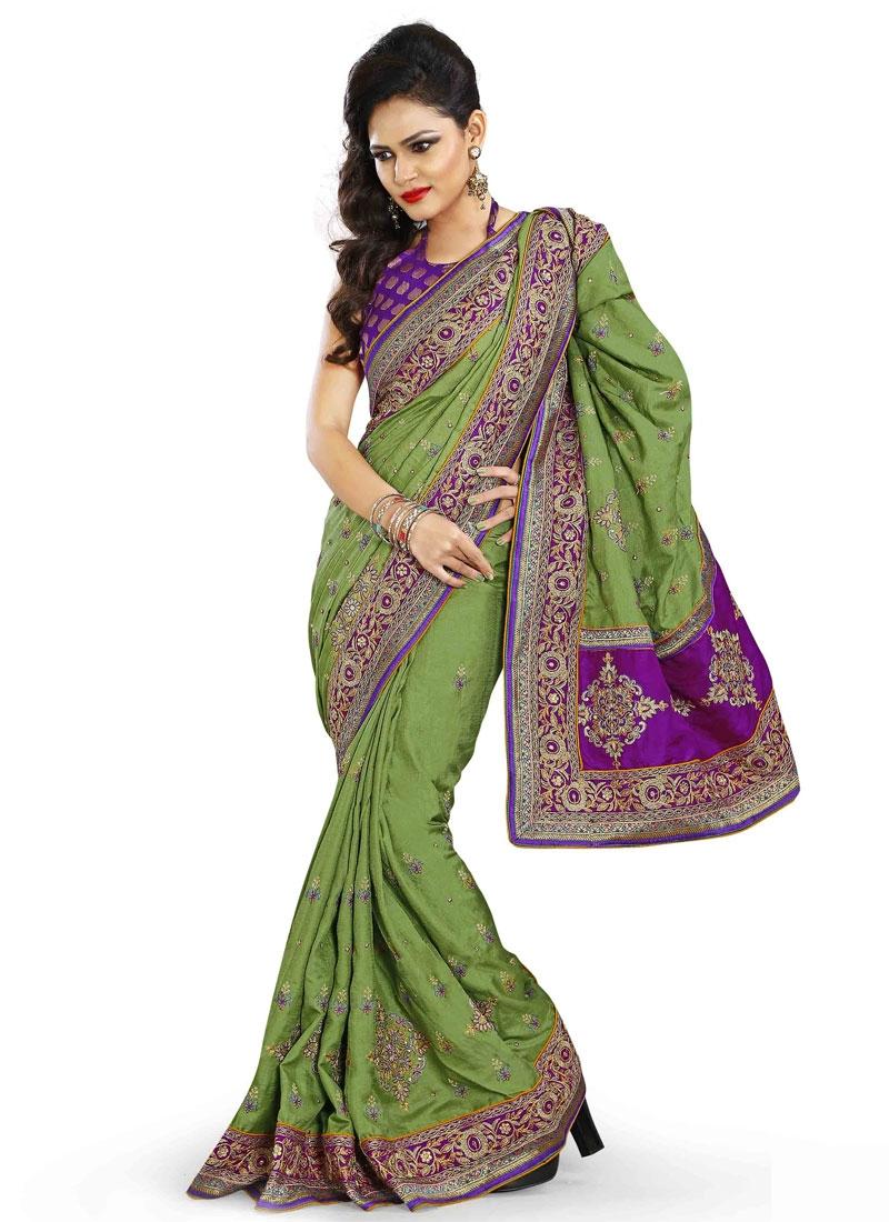 Mystic Olive Color Resham Work Designer Saree