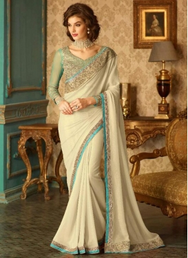 Mystic  Shimmer Georgette Embroidered Work Contemporary Saree