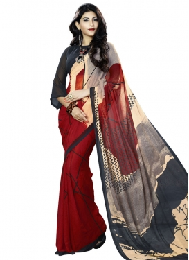 Mystical Black and Grey  Contemporary Style Saree