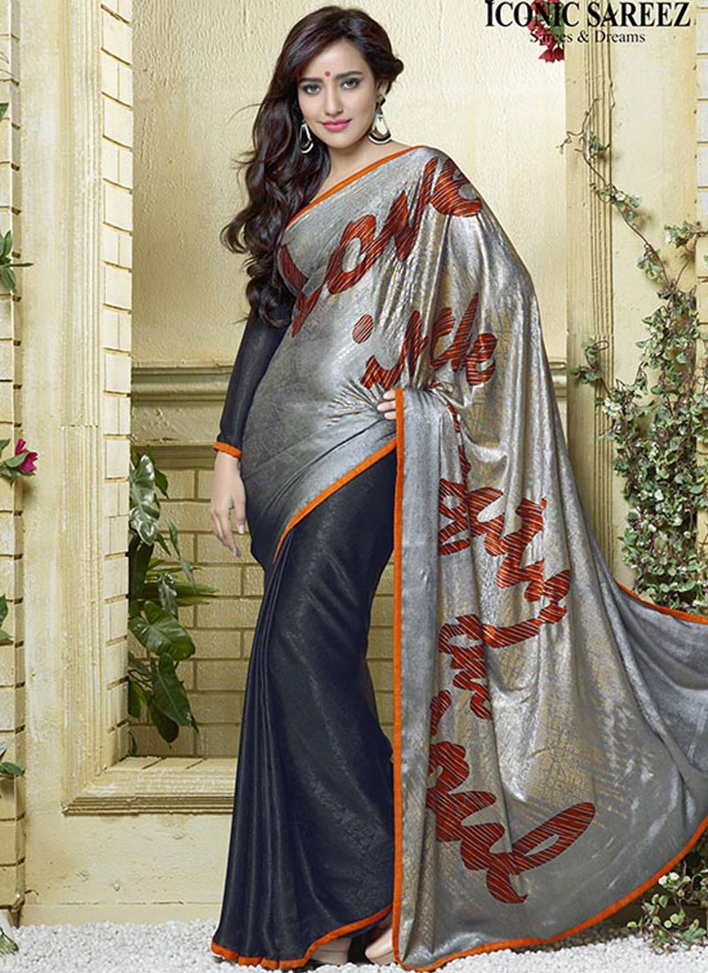 Mystical Black Color Neha Sharma Casual Saree