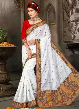 Mystical Embroidered Work Red and White Bhagalpuri Silk Designer Contemporary Saree For Ceremonial