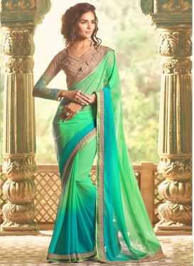 Mystical Light Blue Contemporary Saree