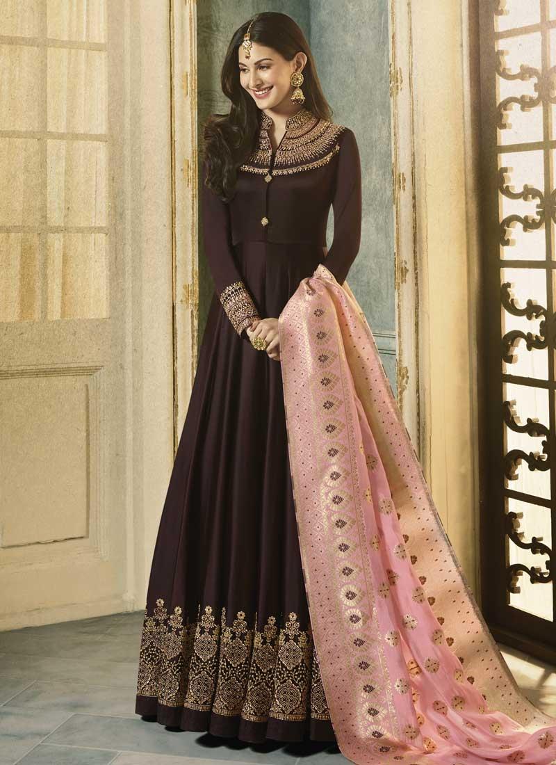 Nargis Fakhri Silk Georgette Long Length Anarkali Salwar Suit