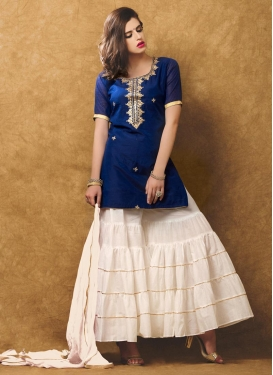 Navy Blue and Off White Chanderi Silk Trendy Designer Suit