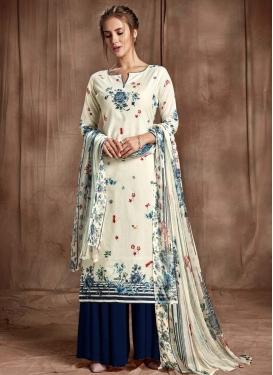 Navy Blue and Off White Cotton Palazzo Style Pakistani Salwar Kameez