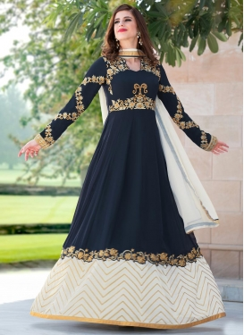 Navy Blue and Off White Faux Georgette Designer Ankle Length Anarkali Suit