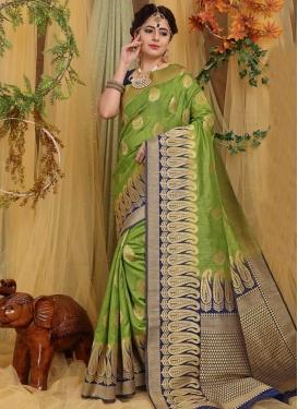 Navy Blue and Olive Art Silk Designer Contemporary Style Saree