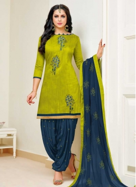 Navy Blue and Olive Cotton Trendy Semi Patiala Suit