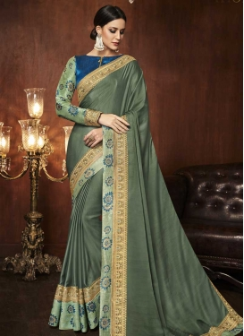 Navy Blue and Olive Designer Traditional Saree