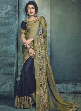Navy Blue and Olive Embroidered Work Half N Half Saree