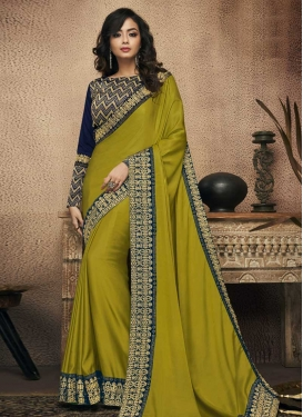 Navy Blue and Olive Embroidered Work Trendy Classic Saree