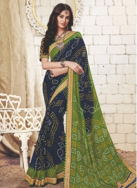 Navy Blue and Olive Faux Georgette Contemporary Saree