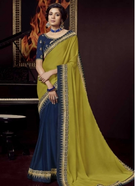 Navy Blue and Olive Faux Georgette Half N Half Trendy Saree
