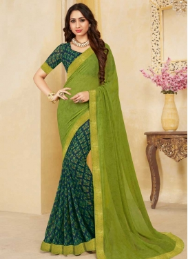 Navy Blue and Olive Half N Half Trendy Saree For Ceremonial