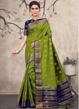 Navy Blue and Olive Thread Work Designer Contemporary Saree