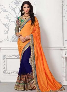 Navy Blue and Orange  Art Silk Half N Half Trendy Saree