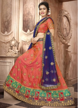 Navy Blue and Orange Art Silk Lehenga Choli