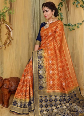 Navy Blue and Orange Art Silk Trendy Classic Saree For Ceremonial