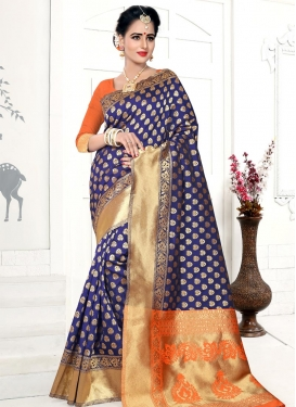 Navy Blue and Orange Banarasi Silk Traditional Saree