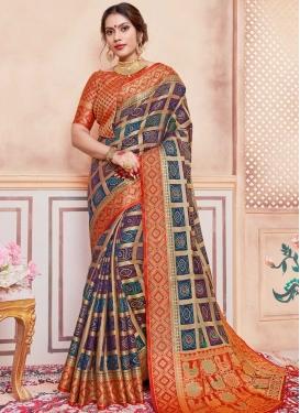 Navy Blue and Orange Bandhej Print Work Art Silk Designer Contemporary Saree