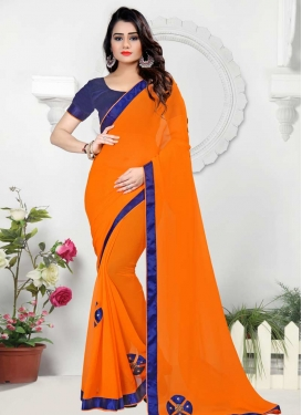 Navy Blue and Orange Beads Work Contemporary Style Saree