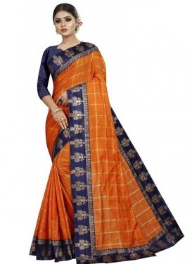 Navy Blue and Orange Contemporary Saree