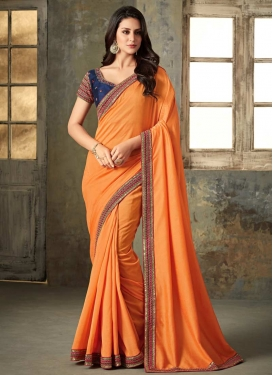 Navy Blue and Orange Embroidered Work Contemporary Saree