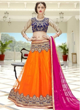 Navy Blue and Orange Net A - Line Lehenga For Ceremonial