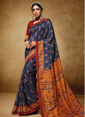 Navy Blue and Orange Print Work Trendy Classic Saree