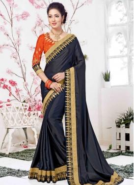 Navy Blue and Orange Satin Silk Contemporary Style Saree