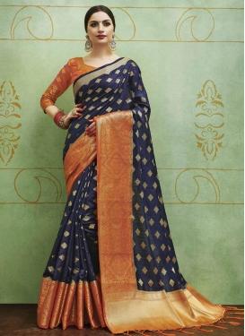 Navy Blue and Orange Thread Work Classic Saree