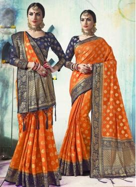 Navy Blue and Orange Thread Work Contemporary Saree