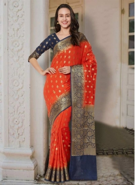 Navy Blue and Orange Thread Work Trendy Classic Saree