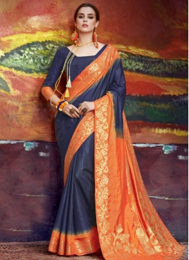 Navy Blue and Orange Thread Work Trendy Saree