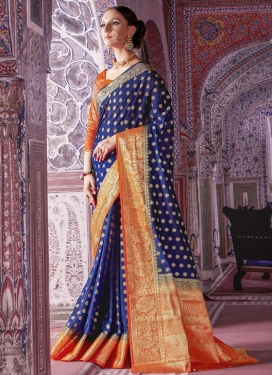 Navy Blue and Orange Traditional Saree
