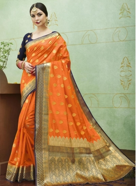 Navy Blue and Orange Traditional Saree