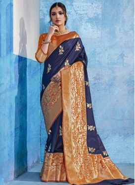 Navy Blue and Orange Trendy Classic Saree For Ceremonial