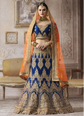 Navy Blue and Orange Trendy Lehenga