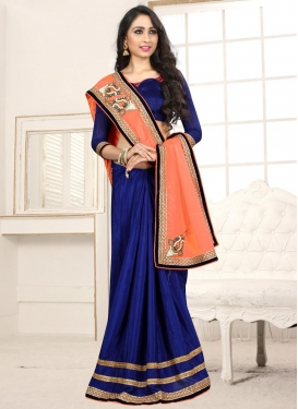Navy Blue and Peach Beads Work Half N Half Trendy Saree