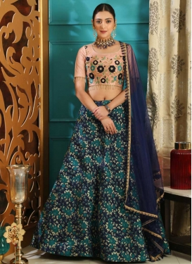 Navy Blue and Peach Designer A Line Lehenga Choli