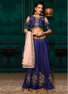 Navy Blue and Peach Designer Half N Half Saree For Ceremonial