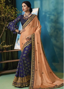 Navy Blue and Peach Embroidered Work Jacquard Silk Half N Half Saree