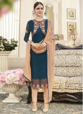 Navy Blue and Peach Faux Georgette Pant Style Pakistani Salwar Kameez