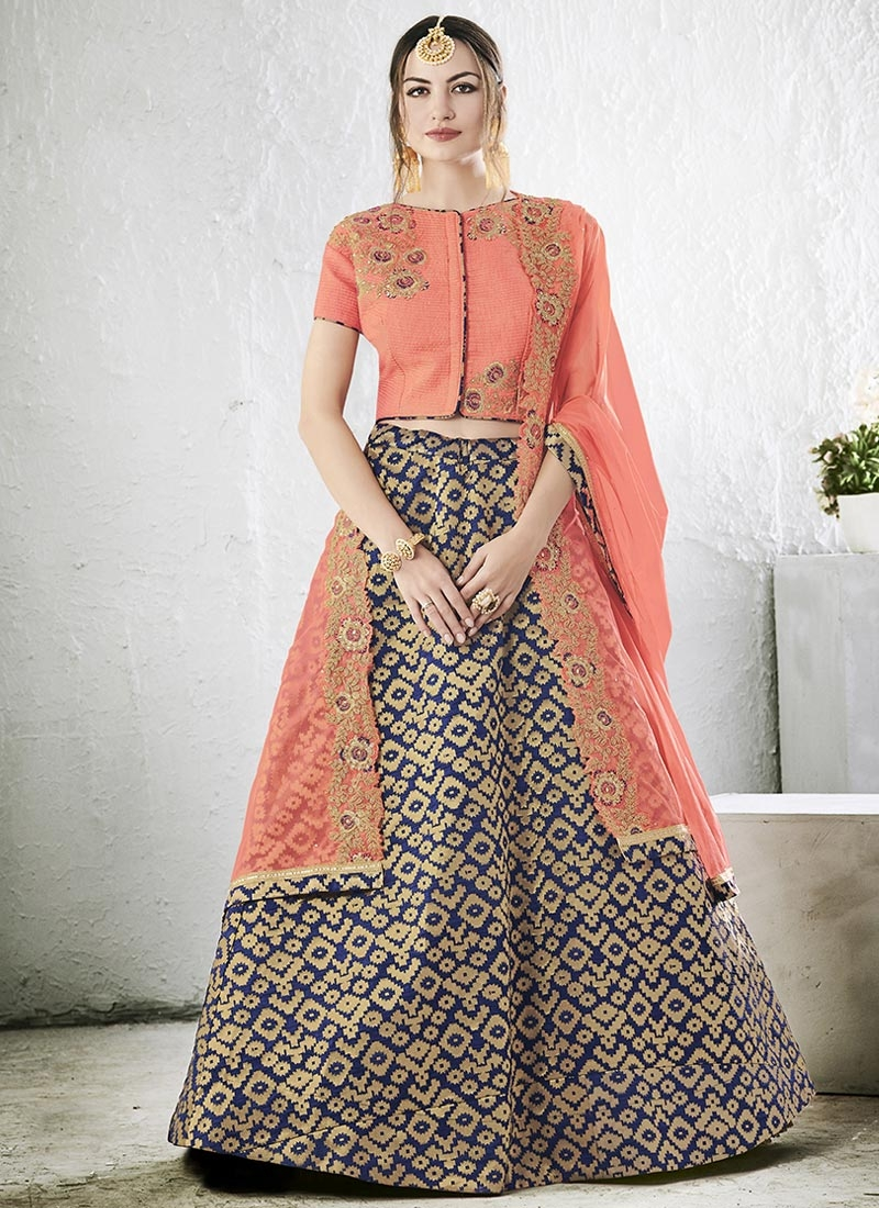 Shop Navy Blue And Peach Jacquard Silk A Line Lehenga