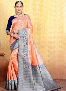 Navy Blue and Peach Jacquard Silk Contemporary Saree