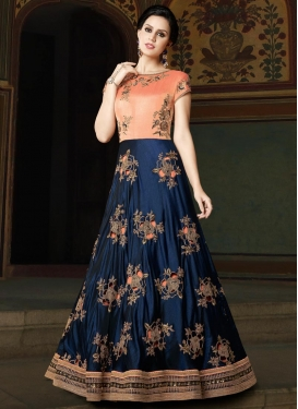 Navy Blue and Peach Long Length Anarkali Salwar Suit For Party