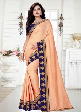 Navy Blue and Peach Trendy Classic Saree