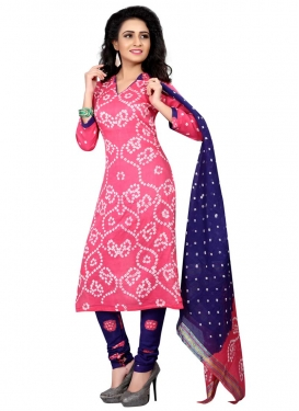 Navy Blue and Pink Bandhej Print Work Churidar Punjabi Salwar Suit